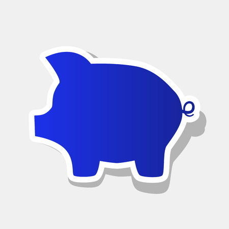 Pig money bank sign. Vector. New year bluish icon with outside stroke and gray shadow on light gray background. Illustration