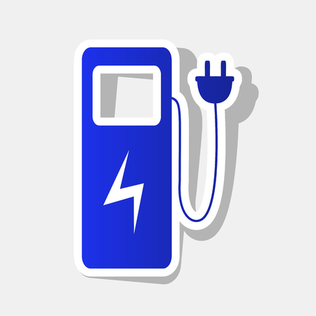 Electric car charging station sign. Vector. New year bluish icon with outside stroke and gray shadow on light gray background. Vectores