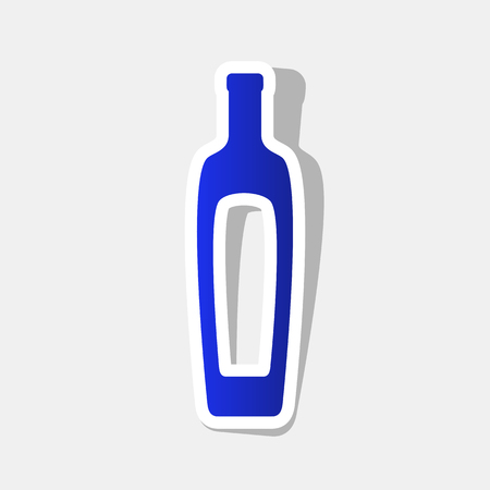 Olive oil bottle sign. Vector. New year bluish icon with outside stroke and gray shadow on light gray background. Vectores