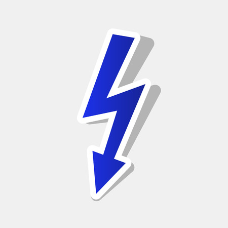 high voltage symbol: High voltage danger sign. Vector. New year bluish icon with outside stroke and gray shadow on light gray background.