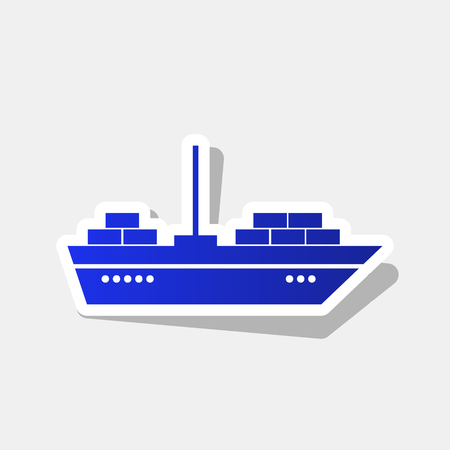 inflate boat: Ship sign illustration. Vector. New year bluish icon with outside stroke and gray shadow on light gray background. Illustration