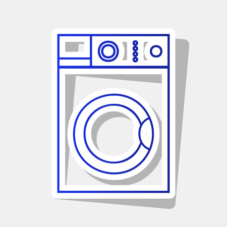 major household appliance: Washing machine sign. Vector. New year bluish icon with outside stroke and gray shadow on light gray background.