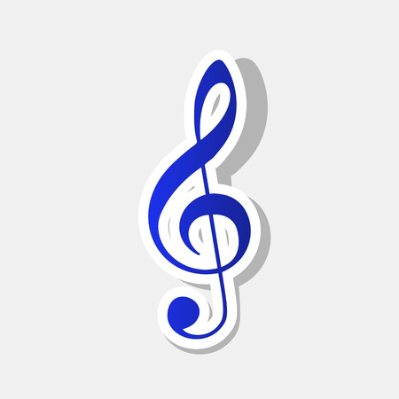 Music violin clef sign. G-clef. Treble clef. Vector. New year bluish icon with outside stroke and gray shadow on light gray background.