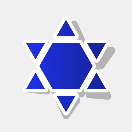 Shield Magen David Star Inverse. Symbol of Israel inverted. Vector. New year bluish icon with outside stroke and gray shadow on light gray background. Illustration