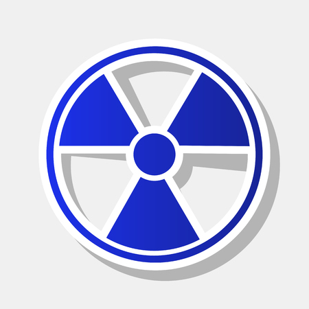 Radiation Round sign. Vector. New year bluish icon with outside stroke and gray shadow on light gray background.