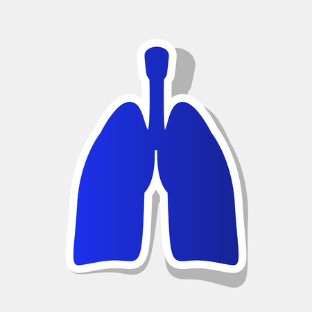 Human organs Lungs sign. Vector. New year bluish icon with outside stroke and gray shadow on light gray background.