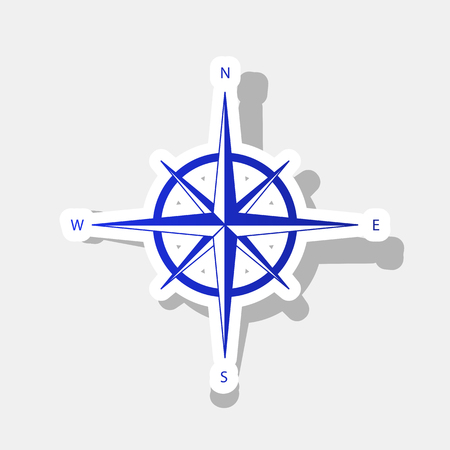 Wind rose sign. Vector. New year bluish icon with outside stroke and gray shadow on light gray background.