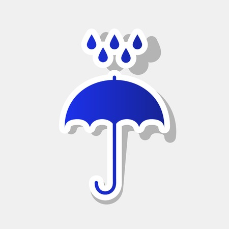 Umbrella with water drops. Rain protection symbol. Flat design style. Vector. New year bluish icon with outside stroke and gray shadow on light gray background.