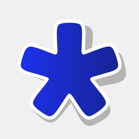 Sterretje Asterisk. Vector. Nieuw jaar blauwachtig pictogram met buiten beroerte en grijze schaduw op de lichtgrijze achtergrond. Vector Illustratie