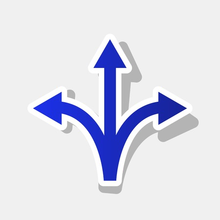 Three-way direction arrow sign. Vector. New year bluish icon with outside stroke and gray shadow on light gray background.