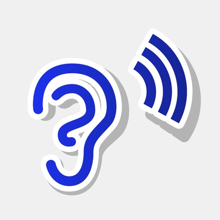 audible: Human ear sign. Vector. New year bluish icon with outside stroke and gray shadow on light gray background.