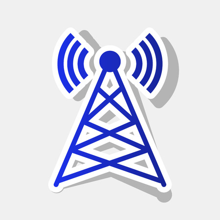 tv tower: Antenna sign illustration. Vector. New year bluish icon with outside stroke and gray shadow on light gray background. Illustration