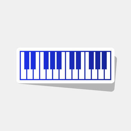 Piano Keyboard sign. Vector. New year bluish icon with outside stroke and gray shadow on light gray background. Illustration