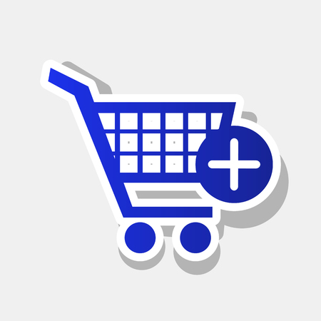 Shopping Cart with add Mark sign. Vector. New year bluish icon with outside stroke and gray shadow on light gray background. Illustration