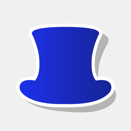 top hat sign vector new year bluish icon with outside stroke and gray shadow