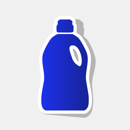 Plastic bottle for cleaning. Vector. New year bluish icon with outside stroke and gray shadow on light gray background. Illustration
