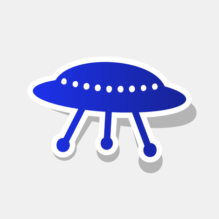 UFO simple sign. Vector. New year bluish icon with outside stroke and gray shadow on light gray background.