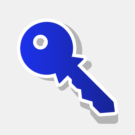 Key sign illustration. Vector. New year bluish icon with outside stroke and gray shadow on light gray background.