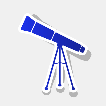 Telescope simple sign. Vector. New year bluish icon with outside stroke and gray shadow on light gray background.