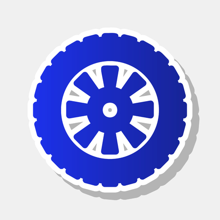 tread: Road tire sign. Vector. New year bluish icon with outside stroke and gray shadow on light gray background.