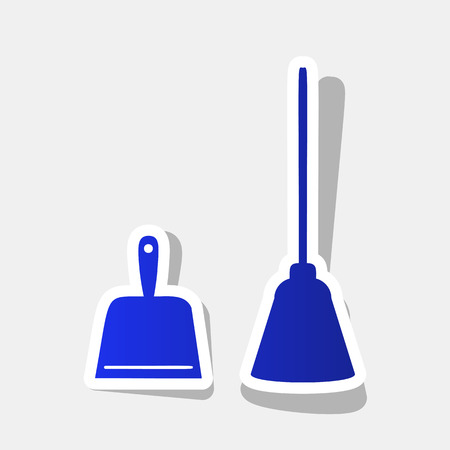 Dustpan vector sign. Scoop for cleaning garbage housework dustpan equipment. Vector. New year bluish icon with outside stroke and gray shadow on light gray background.