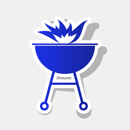 Barbecue with fire sign. Vector. New year bluish icon with outside stroke and gray shadow on light gray background.