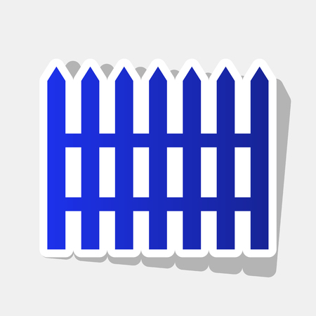 dissociation: Fence simple sign. Vector. New year bluish icon with outside stroke and gray shadow on light gray background.