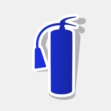 Fire extinguisher sign. Vector. New year bluish icon with outside stroke and gray shadow on light gray background.