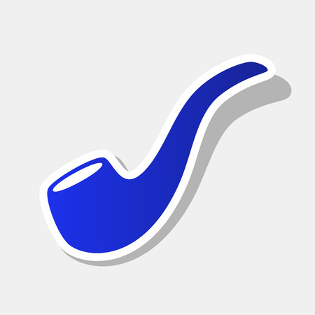 Smoke pipe sign. Vector. New year bluish icon with outside stroke and gray shadow on light gray background.