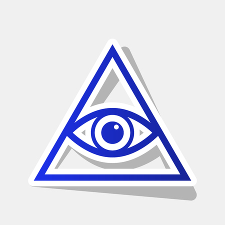 All seeing eye pyramid symbol. Freemason and spiritual. Vector. New year bluish icon with outside stroke and gray shadow on light gray background.