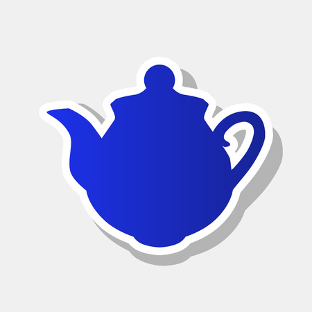 Tea maker sign. Vector. New year bluish icon with outside stroke and gray shadow on light gray background.