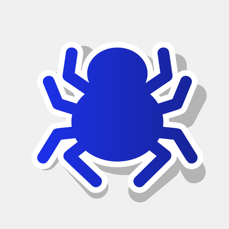 Spider sign illustration. Vector. New year bluish icon with outside stroke and gray shadow on light gray background.