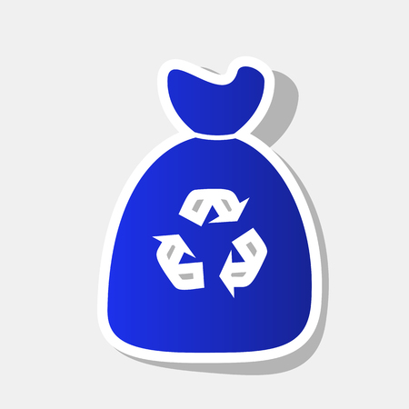 Trash bag icon. Vector. New year bluish icon with outside stroke and gray shadow on light gray background. Illustration