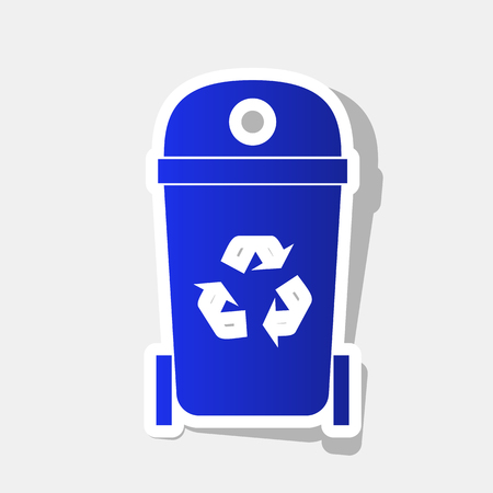 Trashcan sign illustration. Vector. New year bluish icon with outside stroke and gray shadow on light gray background.