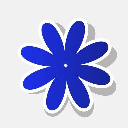 Ilustración de signo de flor. Vector. Icono azulado de año nuevo con el trazo exterior y la sombra gris sobre fondo gris claro. Ilustración de vector
