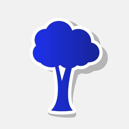 Tree sign illustration. Vector. New year bluish icon with outside stroke and gray shadow on light gray background.