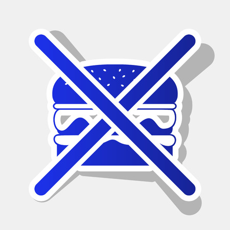 No burger sign. Vector. New year bluish icon with outside stroke and gray shadow on light gray background.