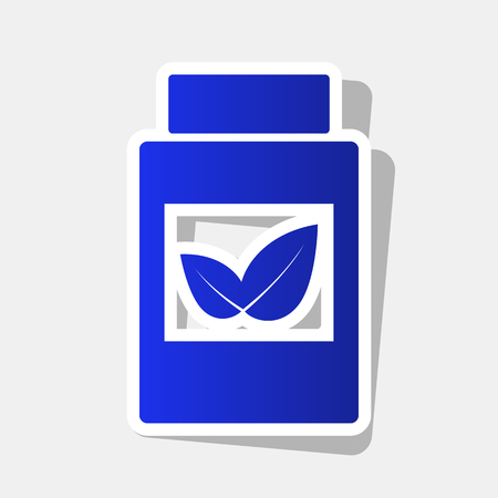Supplements container sign. Vector. New year bluish icon with outside stroke and gray shadow on light gray background. Vectores