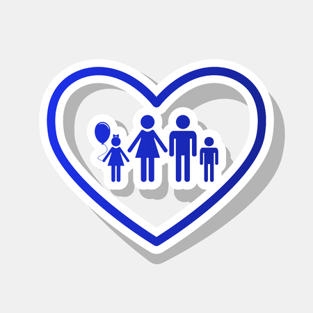 siloette: Family sign illustration in heart shape. Vector. New year bluish icon with outside stroke and gray shadow on light gray background. Illustration