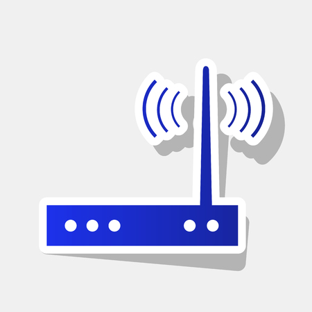 Wifi modem sign. Vector. New year bluish icon with outside stroke and gray shadow on light gray background.