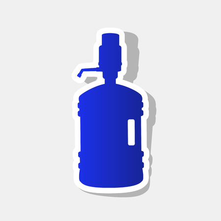 siphon: Plastic bottle silhouette with water and siphon. Vector. New year bluish icon with outside stroke and gray shadow on light gray background. Illustration