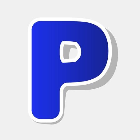Élément de modèle de conception lettre S signe. Vecteur. Icône bleuâtre du nouvel an avec contour extérieur et ombre grise sur fond gris clair.
