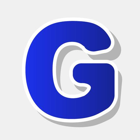 Élément de modèle de conception lettre G signe. Vecteur. Icône bleuâtre du nouvel an avec contour extérieur et ombre grise sur fond gris clair.