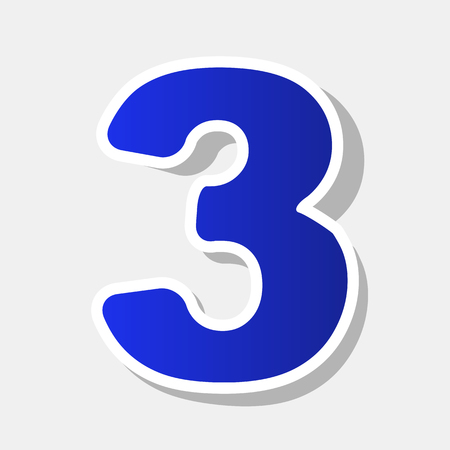 Élément de modèle de conception de signe numéro 3. Vecteur. Nouvel an, icône bleue avec coup extérieur et ombre grise sur fond gris clair.