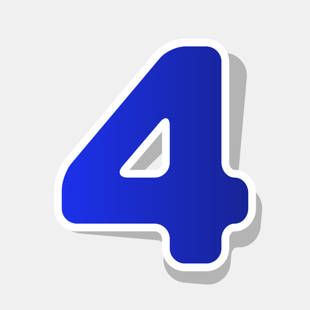 Number 4 sign design template element. Vector. New year bluish icon with outside stroke and gray shadow on light gray background. Illustration