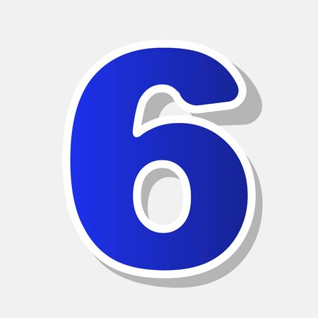 Number 6 sign design template element. Vector. New year bluish icon with outside stroke and gray shadow on light gray background. Illustration