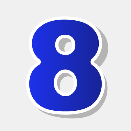 Number 8 sign design template element. Vector. New year bluish icon with outside stroke and gray shadow on light gray background.
