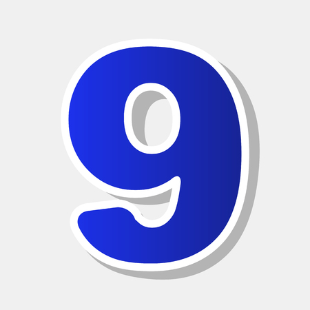 Number 9 sign design template element. Vector. New year bluish icon with outside stroke and gray shadow on light gray background.