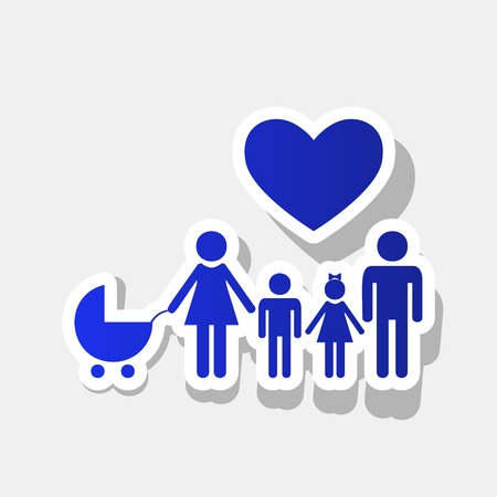 Family sign with heart. Husband and wife are kept childrens hands. Vector. New year bluish icon with outside stroke and gray shadow on light gray background.