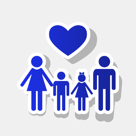 Family symbol with heart. Husband and wife are kept childrens hands. Vector. New year bluish icon with outside stroke and gray shadow on light gray background.